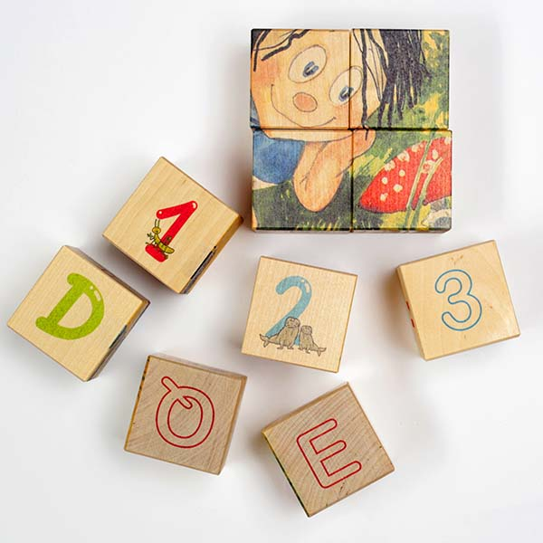 "Letter and number bricks with Sipsik puzzle image (20 pcs) ""Sipsik and the fly agaric"""